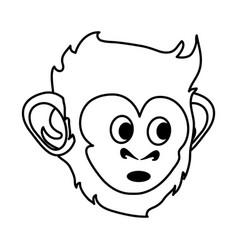 surprised cute expressive monkey cartoon icon vector image
