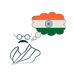 Symple style portrait of mahatma gandhi vector