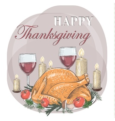 Thanksgiving day festive table postcard vector