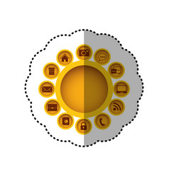 yellow technology apps connections icon vector image vector image