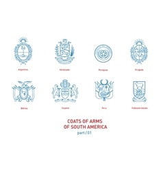Linear images of coats arms south america vector