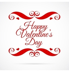 Happy valentines day red badge over white vector