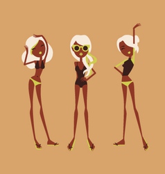 fashion girls in bikini vector image
