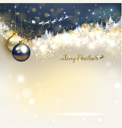 Santa claus in a sleigh sweeps over the winter vector