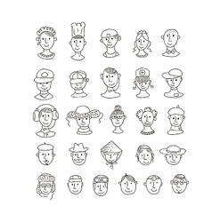 Smiling various faces vector image
