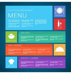 Restaurant menu template flat style vector