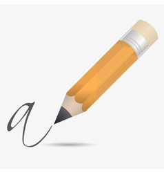 Big wooden pencil with rubber write letter eps10 vector