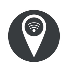 Monochrome round wi-fi pointer icon vector