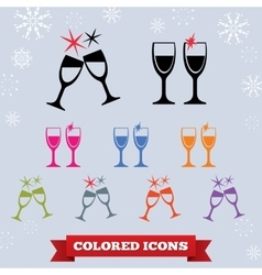 Glass drink icon holiday symbol new year vector