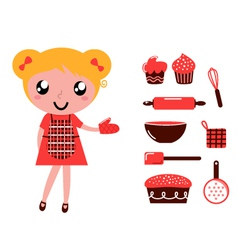 woman with cooking vector image