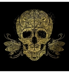 Golden skull floral gold pattern vector