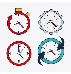 Icon set of colorfull clocks time design vector