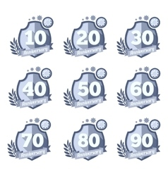 Anniversary emblems set celebration icons vector