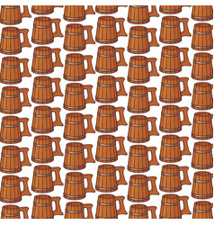 background pattern with wooden beer mug vector image