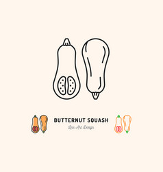 butternut squash icon vegetables logo thin line vector image vector image