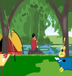 Camping day celebration river fishing with a tent vector