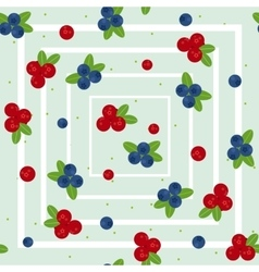 Cranberry and blueberry seamless pattern 2 vector