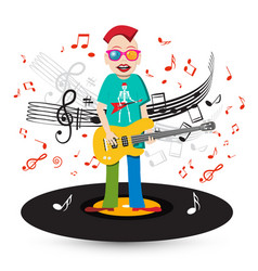Crazy singer and bass guitar player on vinyl vector