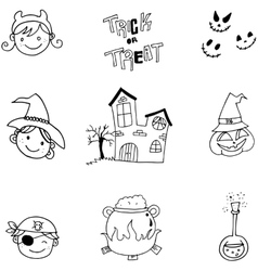 Doodle of element halloween face and castle vector