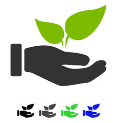 Eco startup hand flat icon vector