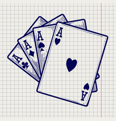 four ace cards on notebook page vector image