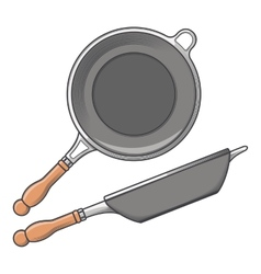 Frying pans side and top view vector