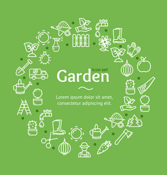 gardening signs round design template line icon vector image vector image