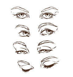 hand drawn womens eyes vintage vector image