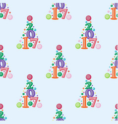 Happy new year 2017 text seamless pattern vector
