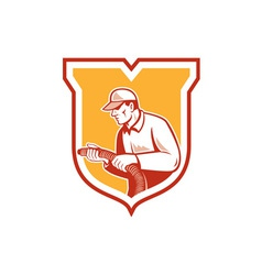 Home Insulation Technician Retro Shield vector image vector image