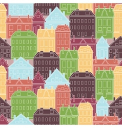 Houses seamless pattern vintage vector image vector image