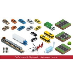 Isometric high quality city transport icon set vector image vector image