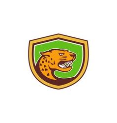 Jaguar Head Side Growling Shield Retro vector image vector image