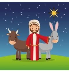 Joseph and farm animals icon Merry Christmas vector image