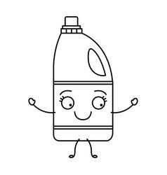 monochrome cartoon silhouette of detergent bottle vector image