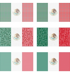 Mosaic mexico flag set vector