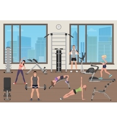 People training in gym Fitness sport place Man vector image vector image