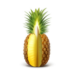 Ripe sliced pineapple vector