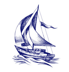sailing boat with a flag vector image vector image