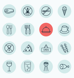 Set of 16 restaurant icons includes board fork vector