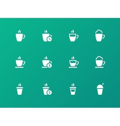 set of coffee cup on green background icons vector image vector image