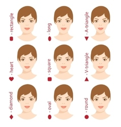 Set of different woman face shapes 5 vector image vector image