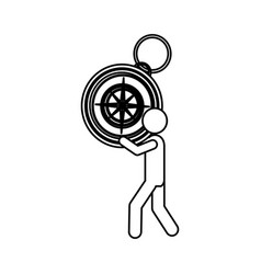 Silhouette worker holding up compass of hand vector