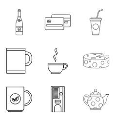 tea shop icon set outline style vector image vector image