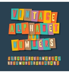 Vintage alphabet and numbers collage paper design vector