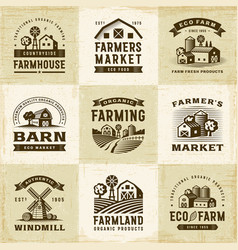 Vintage organic farming labels set vector