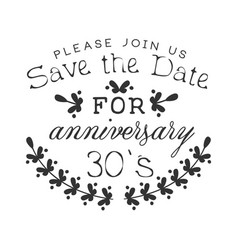Wedding anniversary party black and white vector