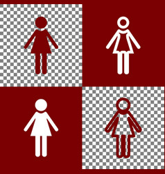 Woman sign bordo and white vector