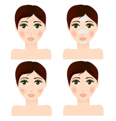 girl portrait with facial skin patch vector image