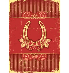Vintage horseshoe on red christmas background with vector